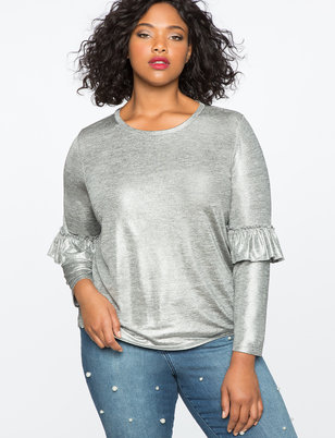 Metallic Ruffle Long Sleeve Tee