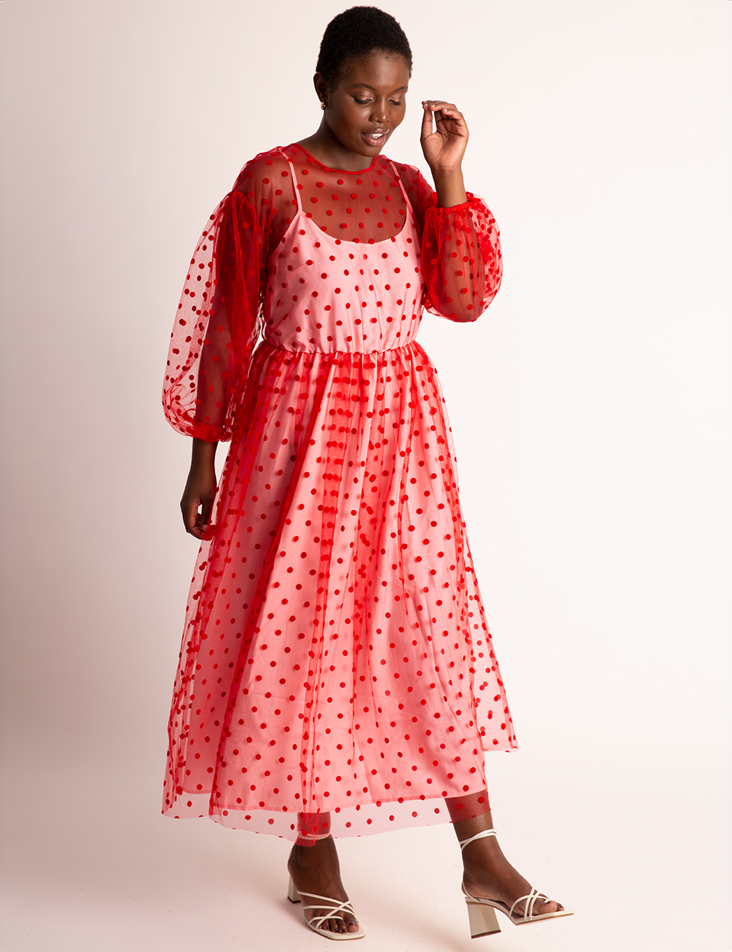 Sheer Dot Maxi With Puff Sleeves 15