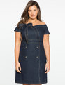 Off the Shoulder  Sweetheart Denim Dress DARK WASH