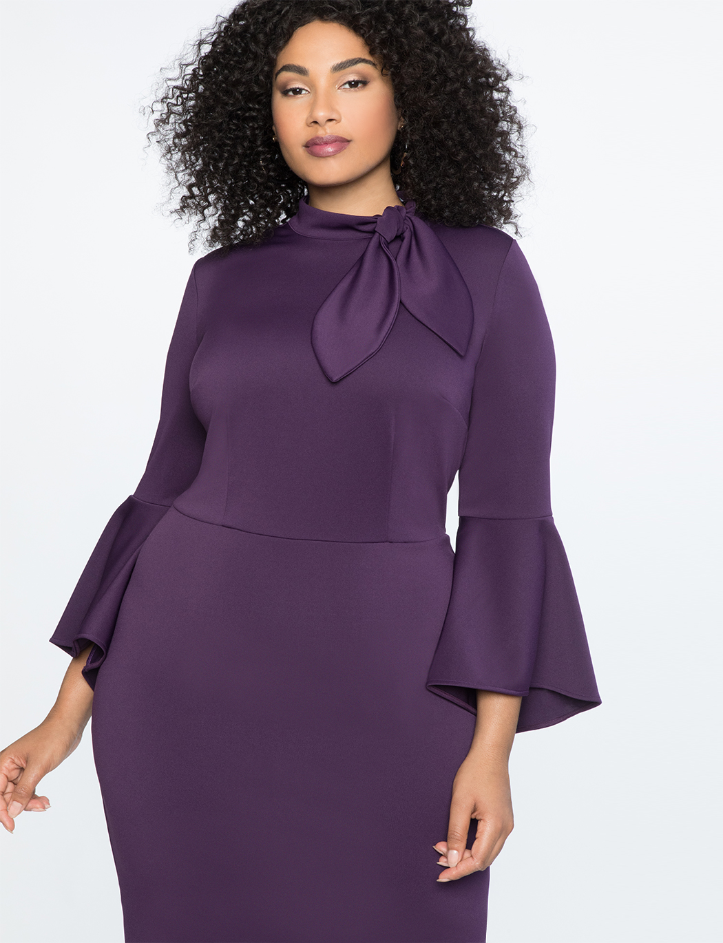 Tie Neck Flounce Sleeve Dress | Women\'s Plus Size Dresses | ELOQUII