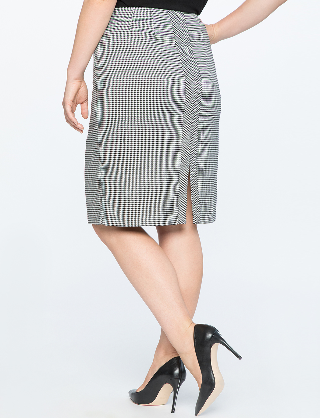 Double Slit Houndstooth Skirt