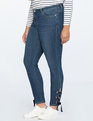 Lace Up Grommet Jean Dark Wash