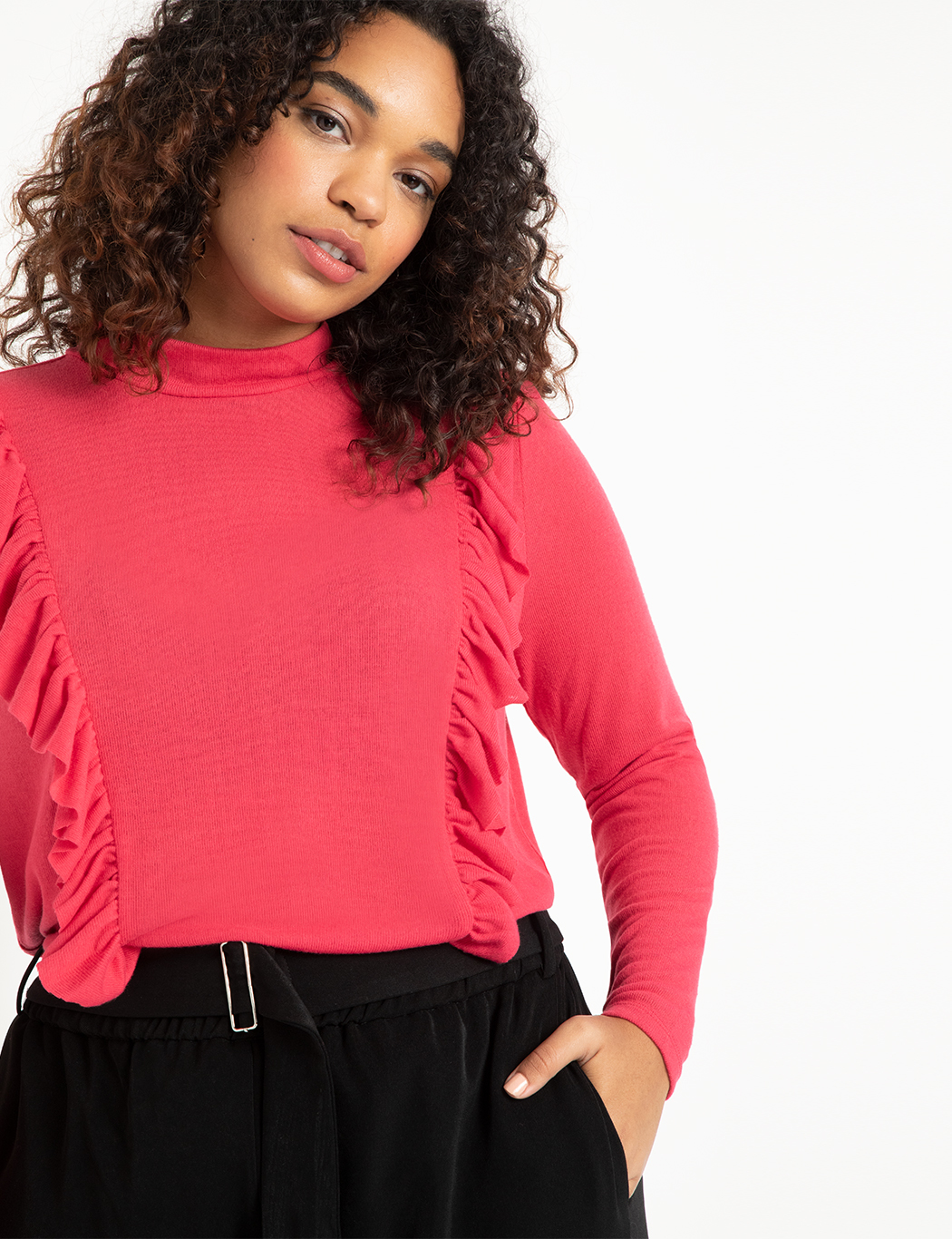 Ruffle Front Mock Neck Top