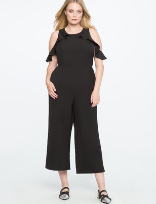 Cold Shoulder Jumpsuit with Ruffle Detail