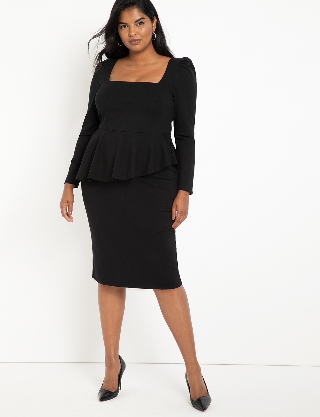 Square Neck Puff Sleeve Dress With Peplum