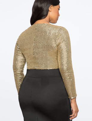 Studio V-Neck Sequin Bodysuit