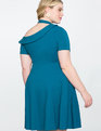 One Shoulder Fit and Flare Dress MOROCCAN BLUE