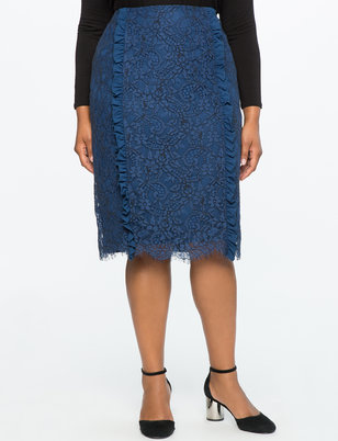 Lace Pencil Skirt with Ruffle Detail