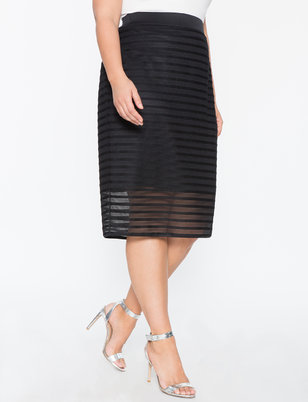 Stripe Textured Column Skirt