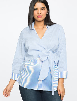 Wrap Front Stripe Button Down Top