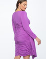 Ruched Dress with Skirt Overlay Deep Violet