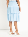 Tiered Midi Skirt Celeste Blue