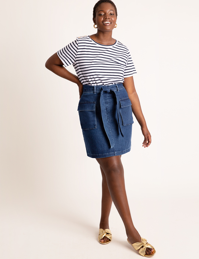 Denim Patch Pocket Mini Skirt