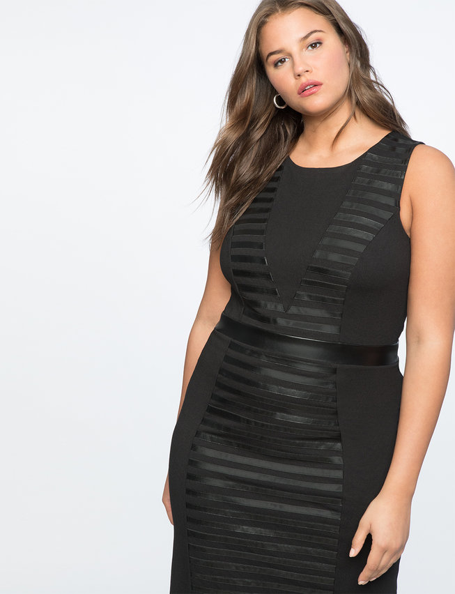 Ponte Faux Leather Mix Dress
