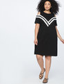 Flare Sleeve Sporty Collared Dress  Black/White