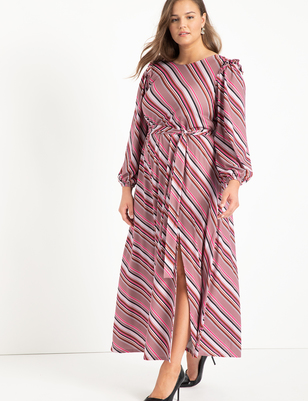 Boat Neck Maxi Dress With Ruffle
