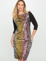 Studio Variegated Sequin Dress Silver + Gold + Pink