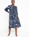 Mixed Print Tie Neck Fit and Flare Dress Thrift and Thrill