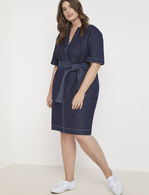 Denim Easy Dress with Belt