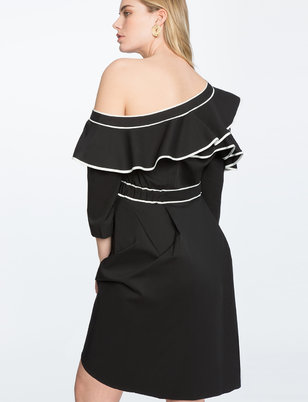 Asymmetric One Shoulder Ruffle Dress