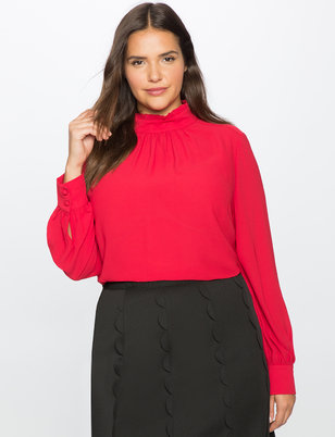 Ruffle Mock Neck Collar Tunic