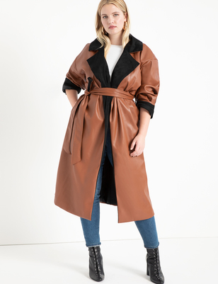 Colorblocked Faux Leather Coat
