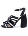 Jules Strappy Block Heel Sandal Black/White Stripe