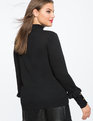 Button Cuff Turtleneck Top BLACK