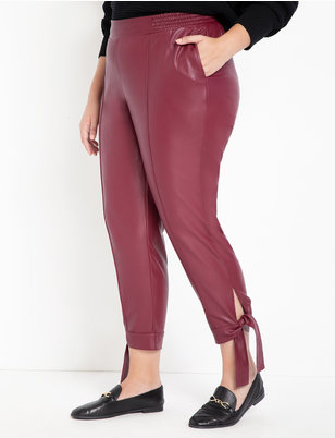 Faux Leather Ankle Tie Pant
