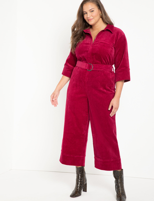 Zip Front Corduroy Jumpsuit With Wide Leg