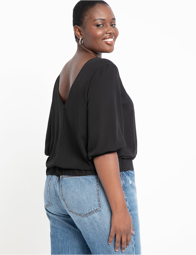 V Back Puff Sleeve Top