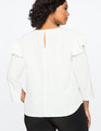 Drop Shoulder Ruffle Sleeve Top WHISPER WHITE