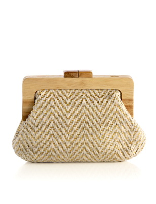 Woven Chevron Wood Frame Clutch