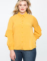 Ruffled Cutout Button Down Blouse GOLDEN GLOW