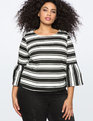 Striped Bell Sleeve Top TOTALLY BLACK/SOFT WHITE