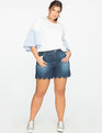 Scalloped Hem Denim Shorts Dark Medium Wash