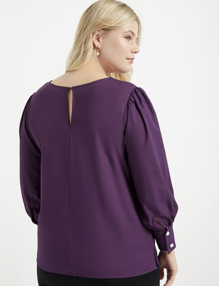 Puff Sleeve Top with Pearl Details