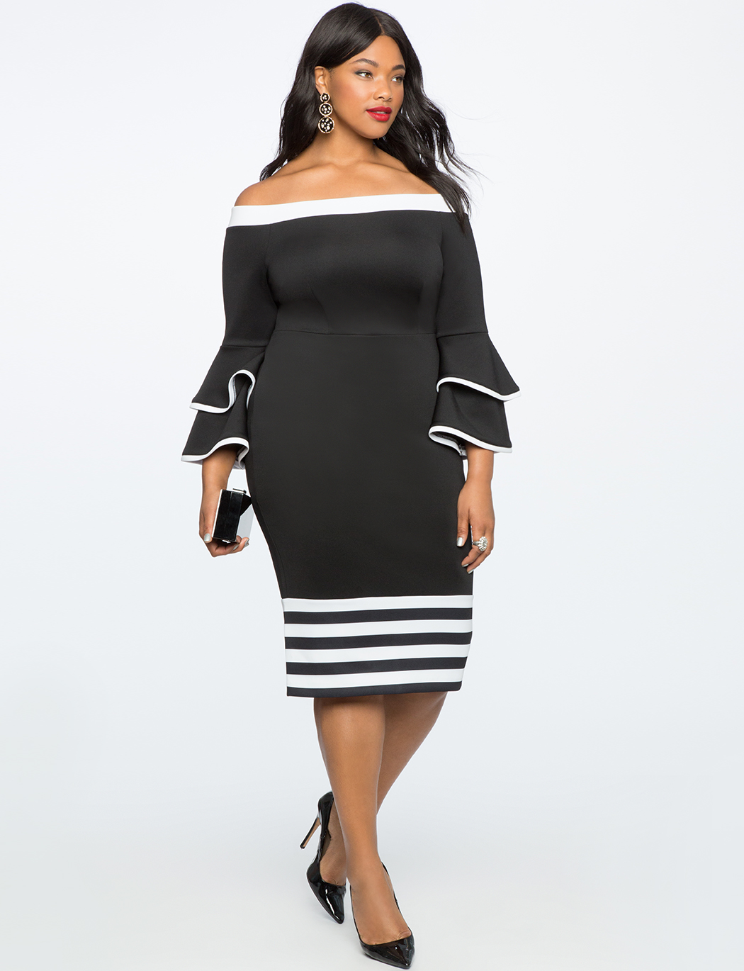 Colorblock Flare Sleeve Dress Women S Plus Size Dresses