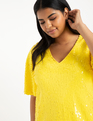 V-Neck Sequin Dress Citron