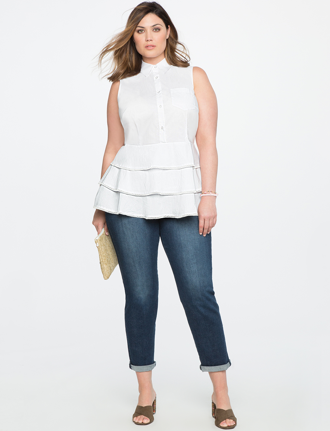 61b9589e2957b7 Button Up Peplum Top with Lace Trim