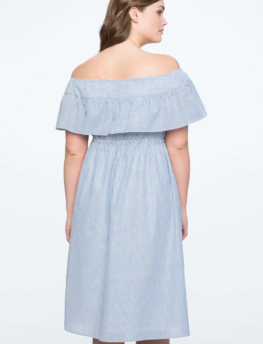 Off the Shoulder Dress with Ruffle Overlay