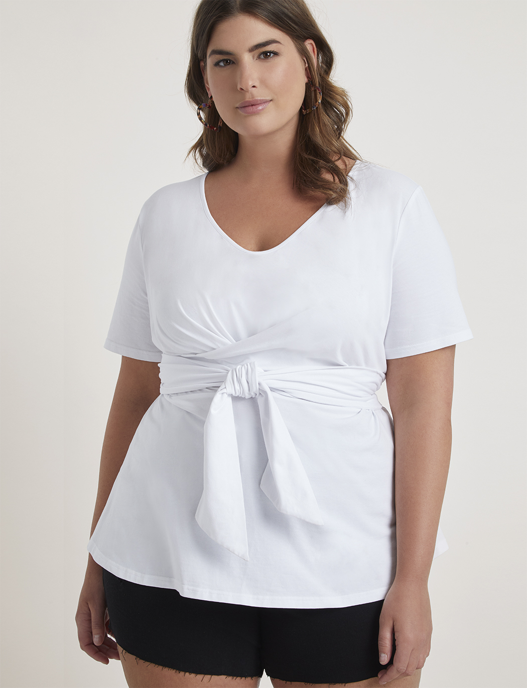 Short Sleeve Tie Waist Top