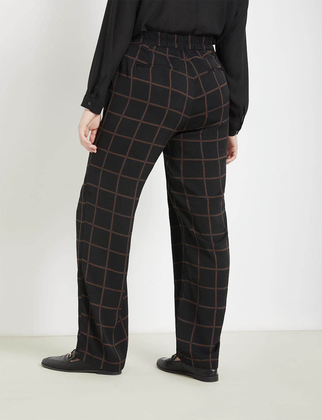 Windowpane Flare Leg Trouser