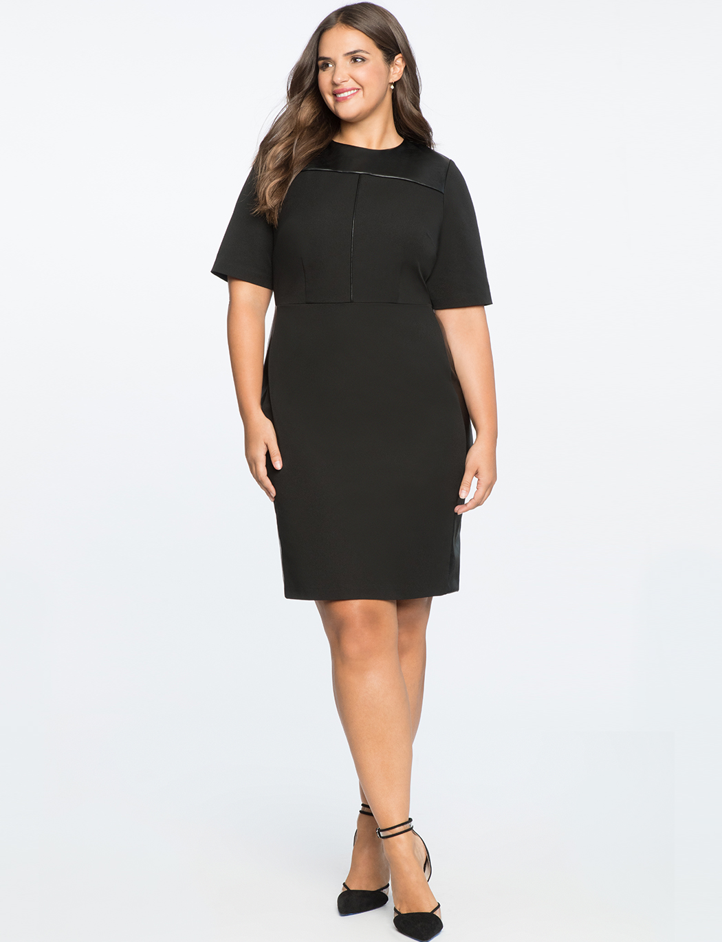 Premier Bi-Stretch Faux Leather Mix Work Dress