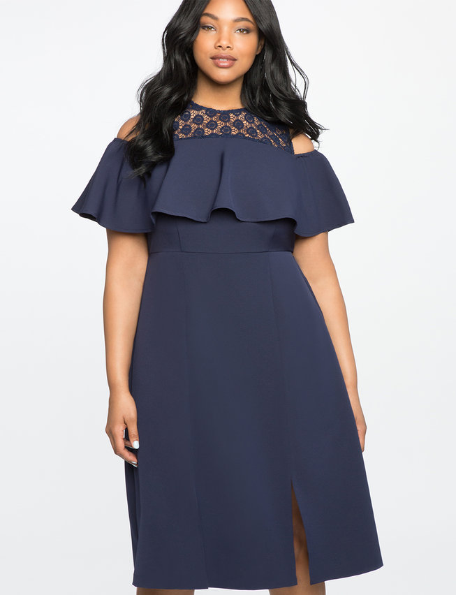 Cold Shoulder Dress with Lace Detail | Women\'s Plus Size Dresses | ELOQUII
