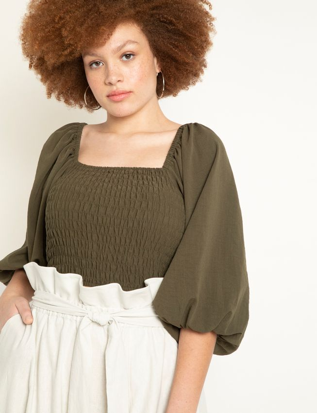 Smocked Top with Puff Sleeves