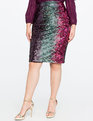 Studio Variegated Sequin Pencil Skirt PINK + NAVY + SILVER + GOLD