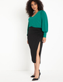 Dramatic Sleeve V-Neck Top Evergreen