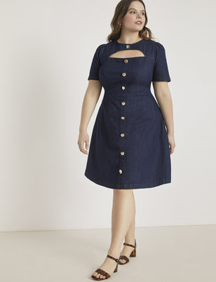 Cutout Button Front Denim Dress