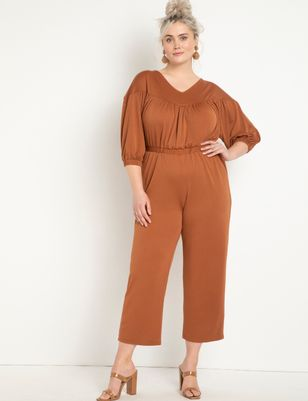 Knit Jumpsuit with Yoke
